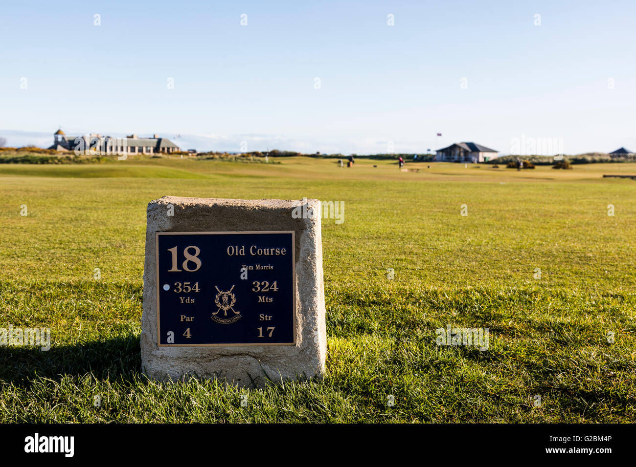 tee box, 18th hole, The Old Course at St Andrews, Scotland - Stock Image