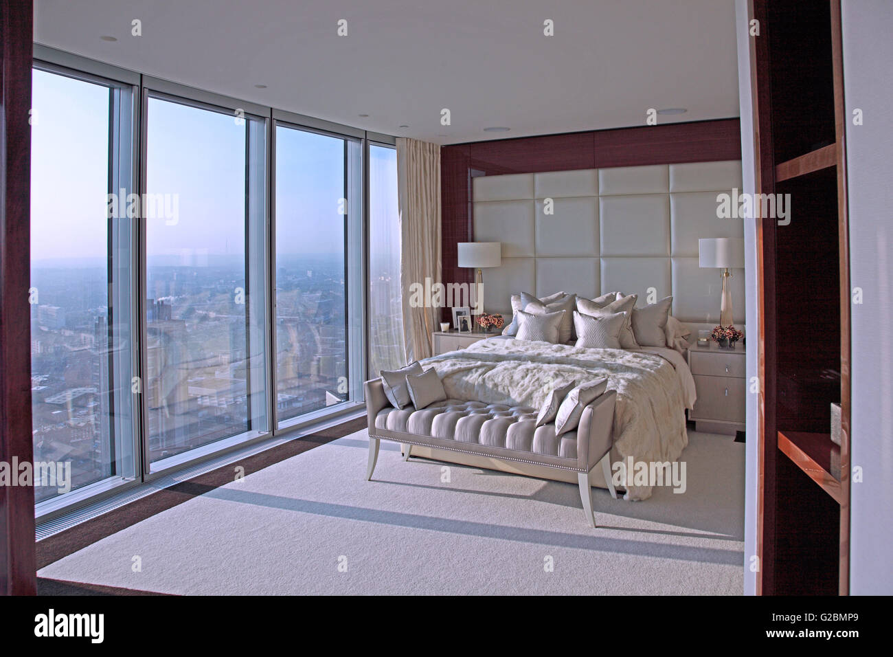 Interior of a flat on the 35th floor of The Tower, a luxury residential development at Vauxhall, London, UK. - Stock Image