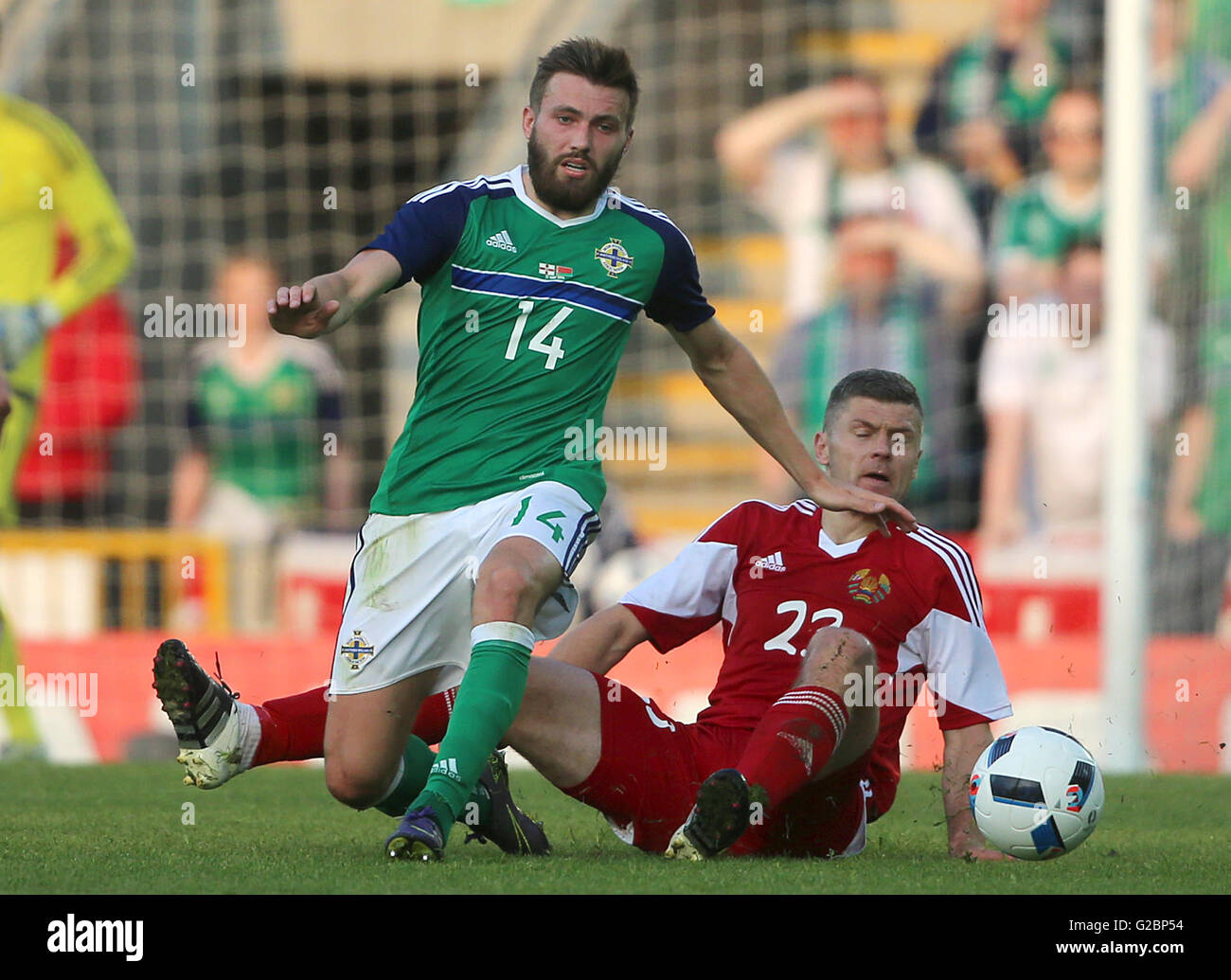 4118061d84 Northern Ireland s Stuart Dallas (left) and Belarus  Nikolai Yanush battle  for the ball during the International Friendly at Windsor Park