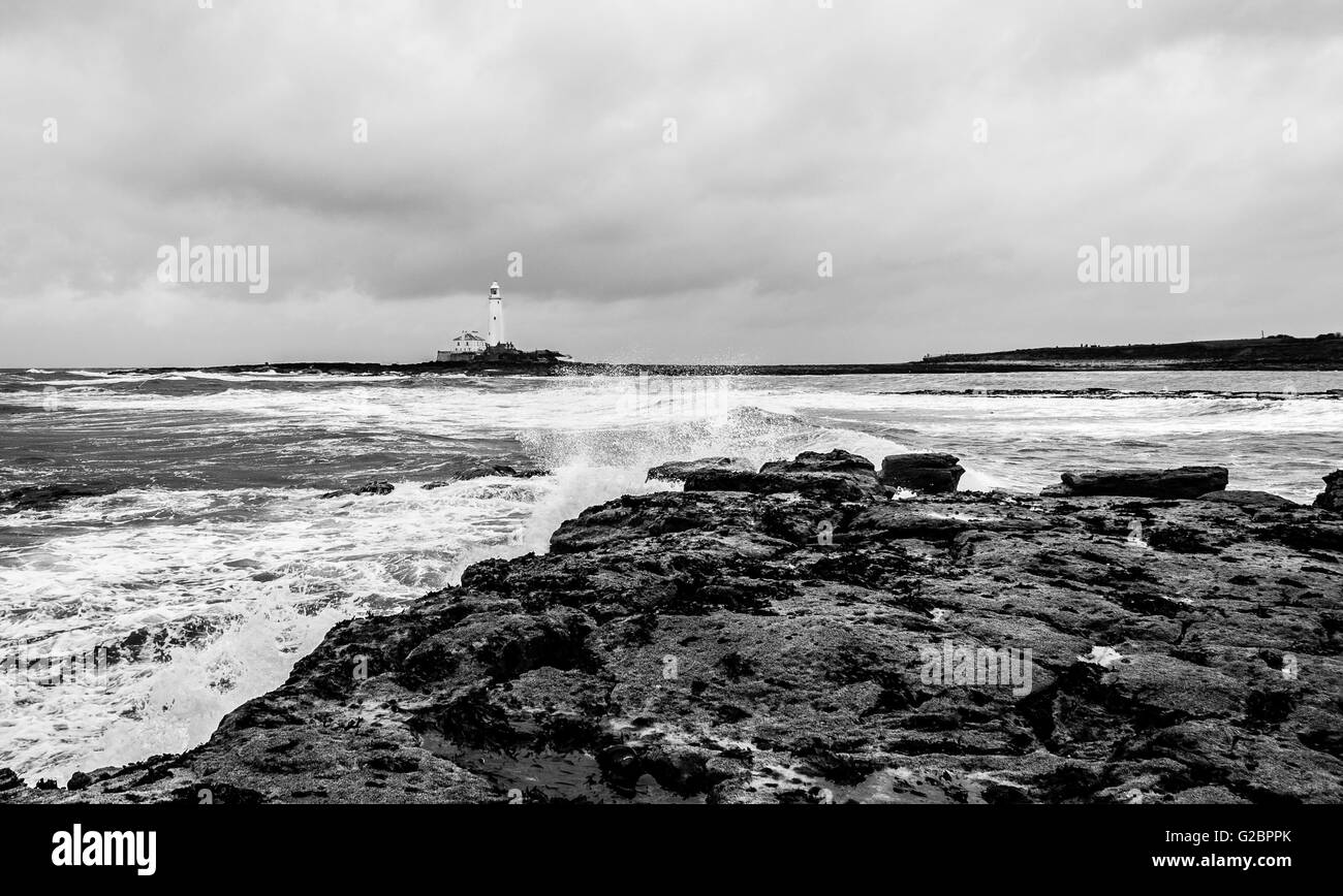 Tidal Island.in Black and White............. - Stock Image