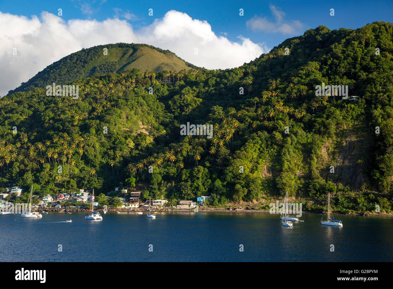 Green hillside over Soufriere, St Lucia, West Indies - Stock Image