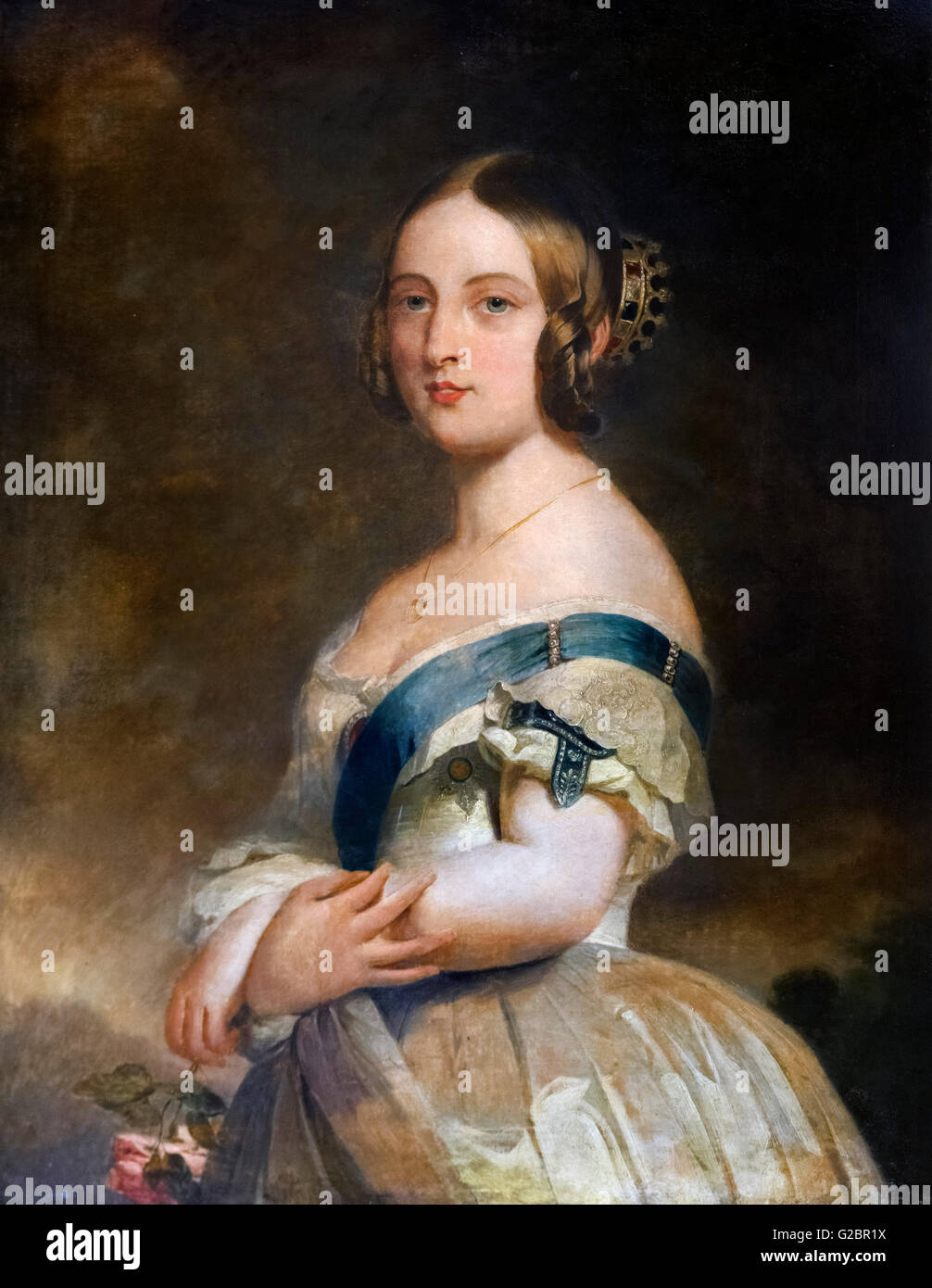 Queen Victoria of England as a young woman. Portrait by Franz Xaver Winterhalter, oil on canvas, c.1840. T - Stock Image