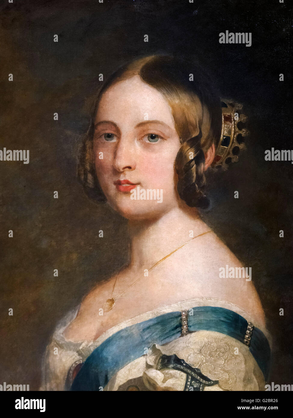 Queen Victoria of England as a young woman. Portrait by Franz Xaver Winterhalter, oil on canvas, c.1840. - Stock Image