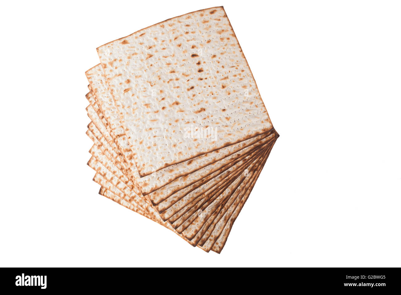 Matzot for pesach isolated on white background - Stock Image