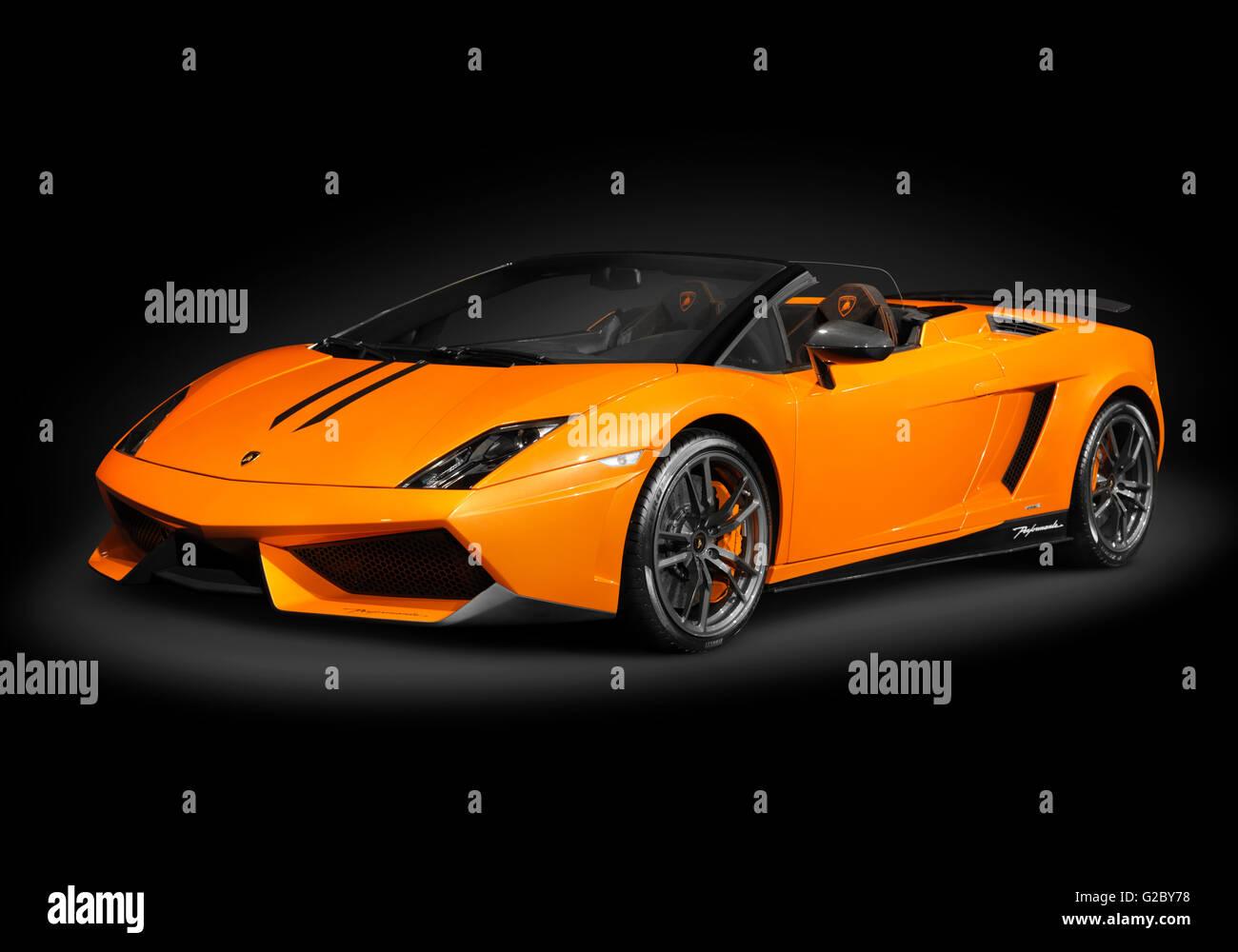 Orange Lamborghini Gallardo LP570 4 Spyder Performante   Stock Image