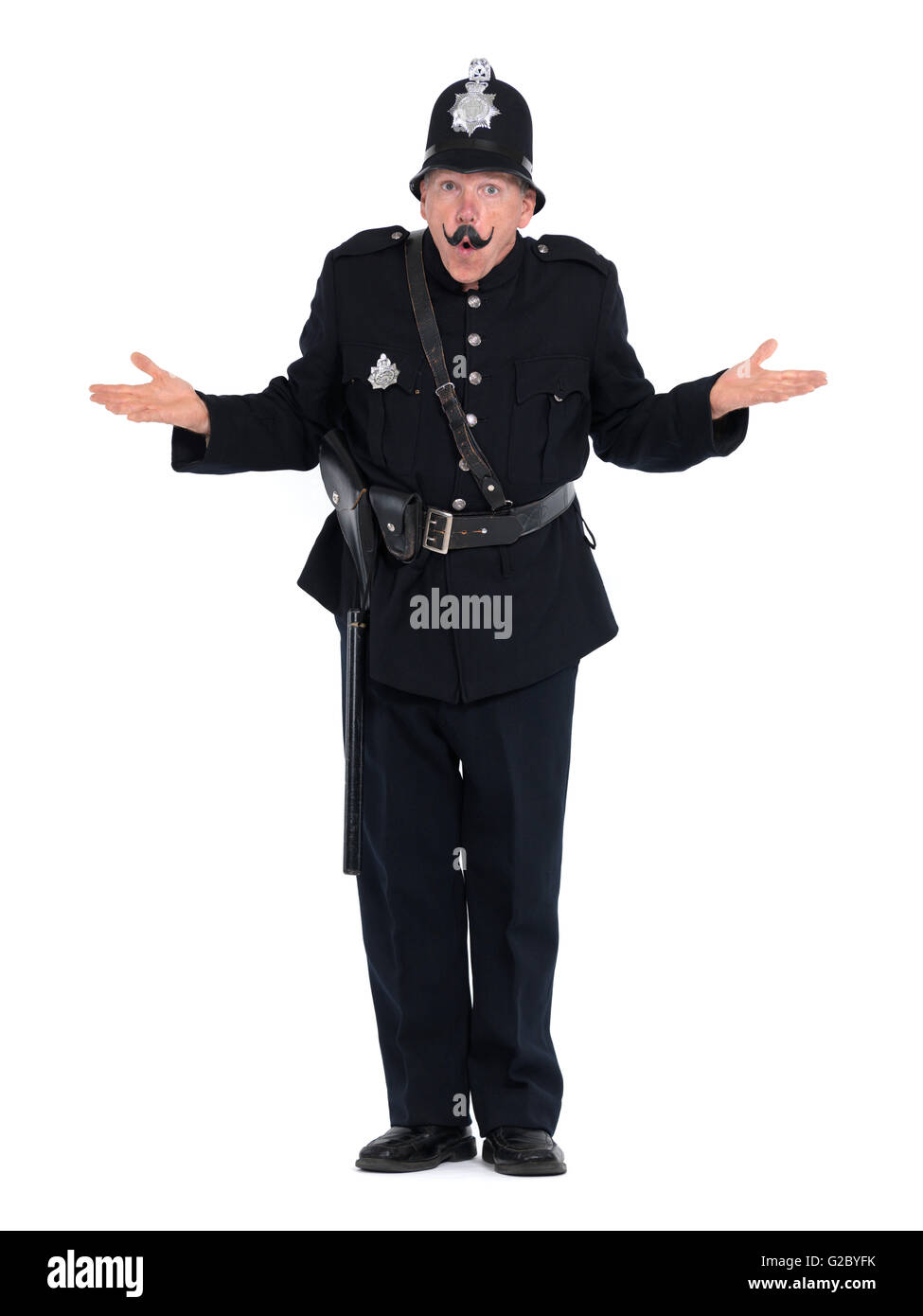 Vintage policeman shrugging - Stock Image
