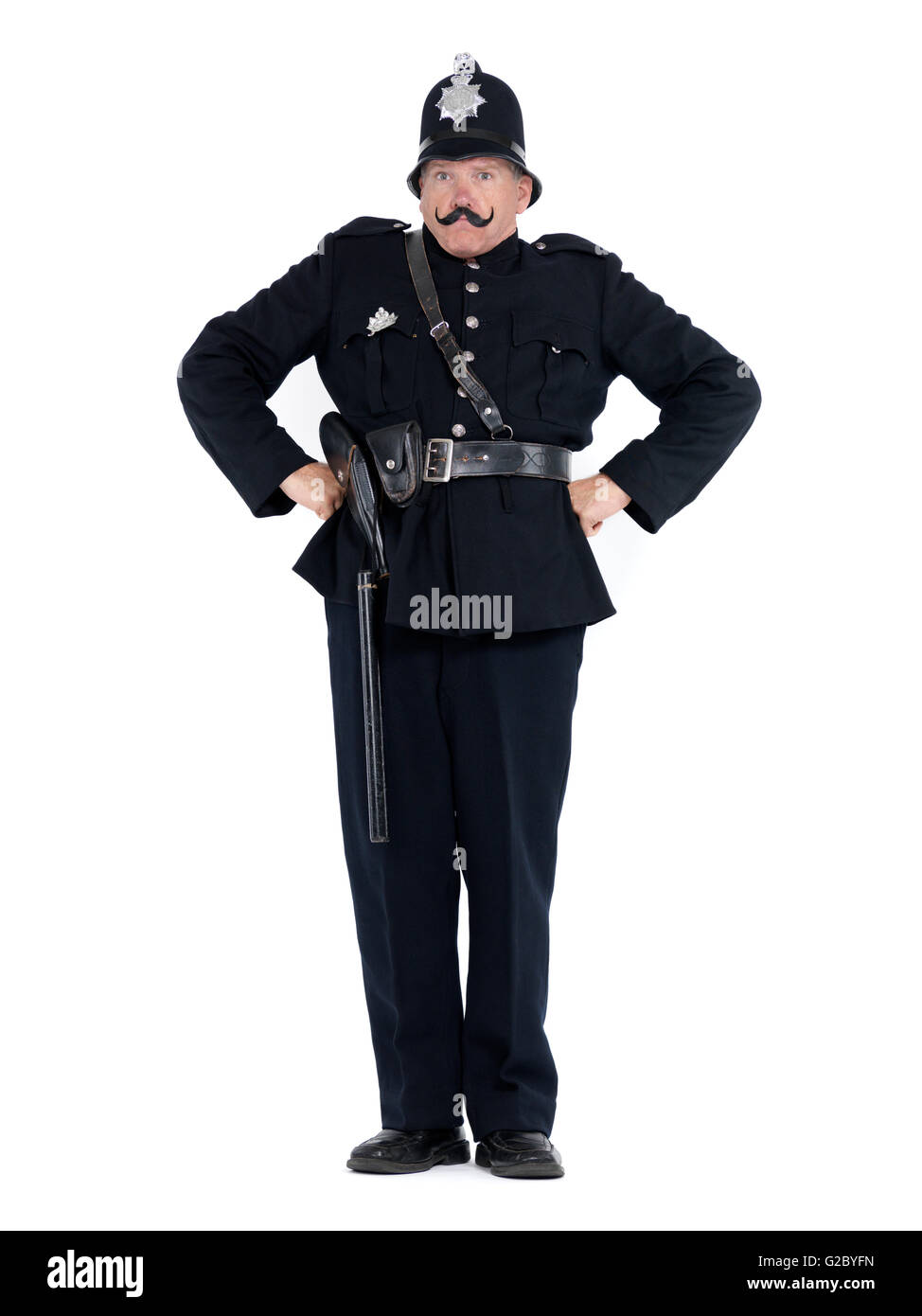 Vintage policeman expressing authority - Stock Image