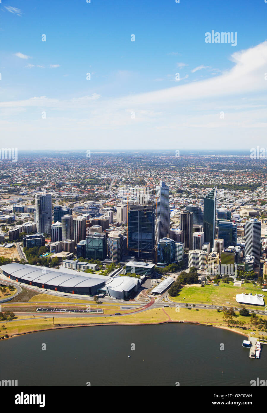 Aerial view of downtown Perth, Western Australia, Australia - Stock Image