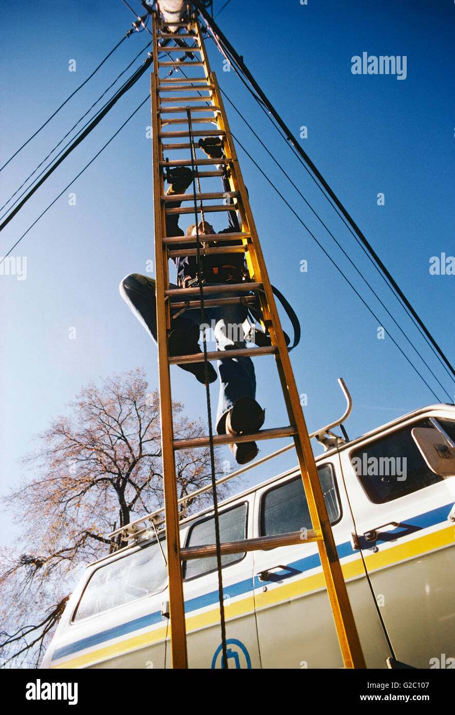 Male utility worker climbing ladder to access overhead power & communication wires - Stock Image