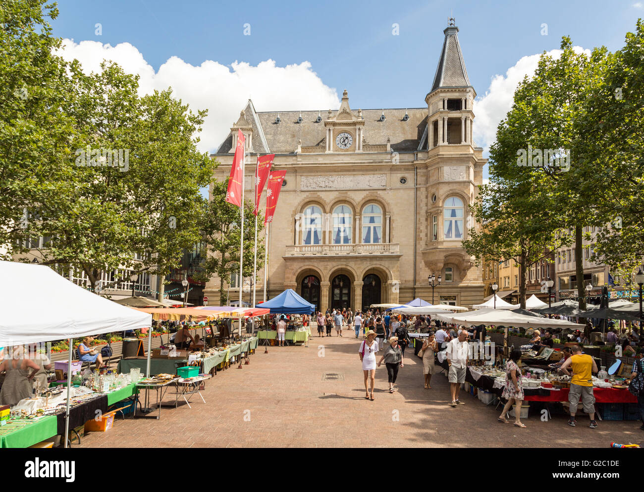 Antique market in street, Luxembourg - Stock Image