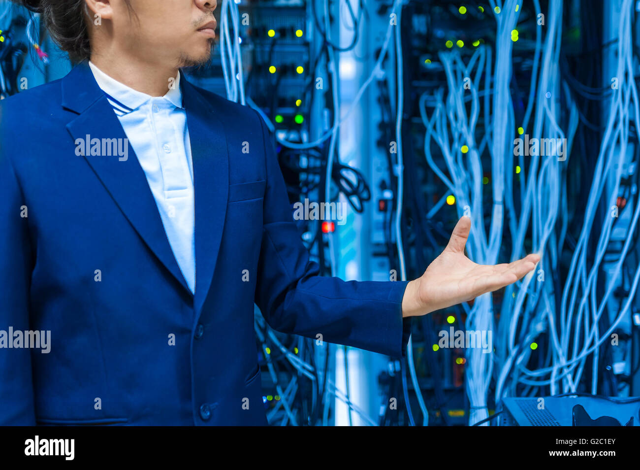 People fix core switch in network room . - Stock Image