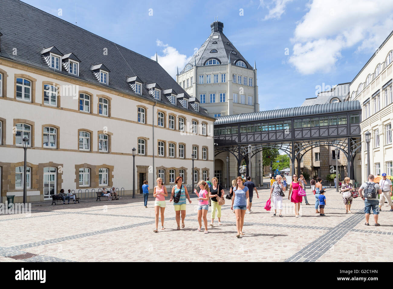 People walking through square, Luxembourg - Stock Image