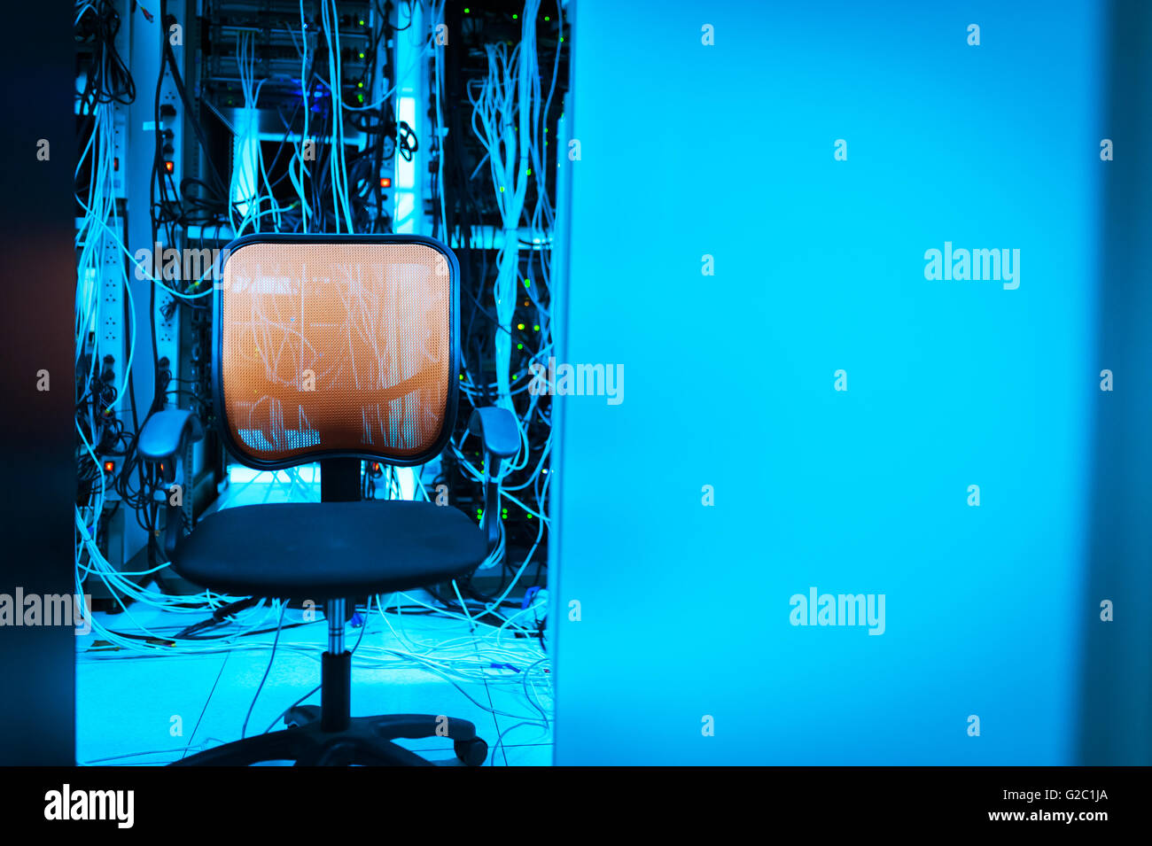 An Chair in the server room . - Stock Image