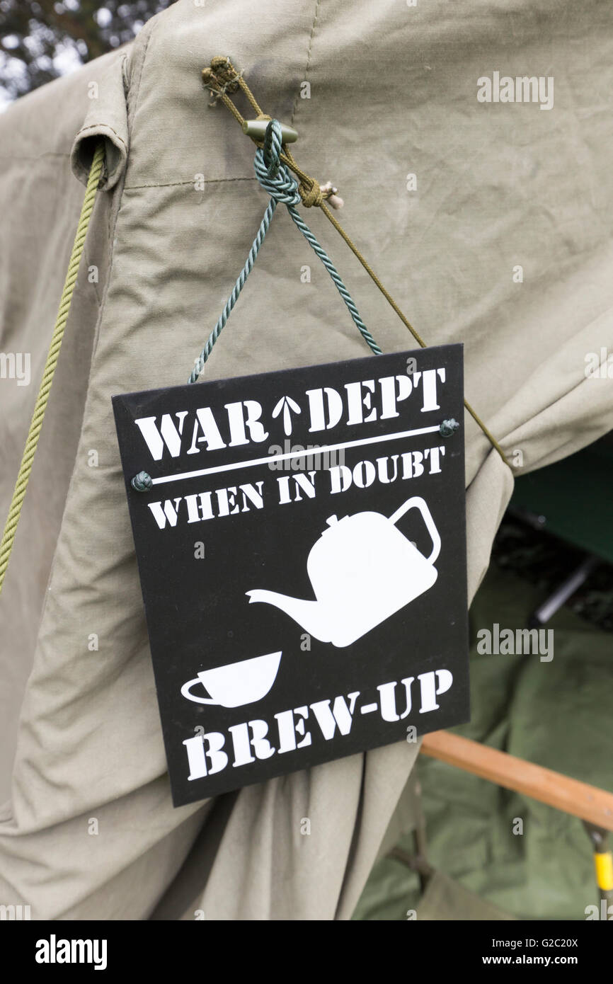 Humorous sign war dept when in doubt brew up at vintage rally Abergavenny Wales, UK - Stock Image