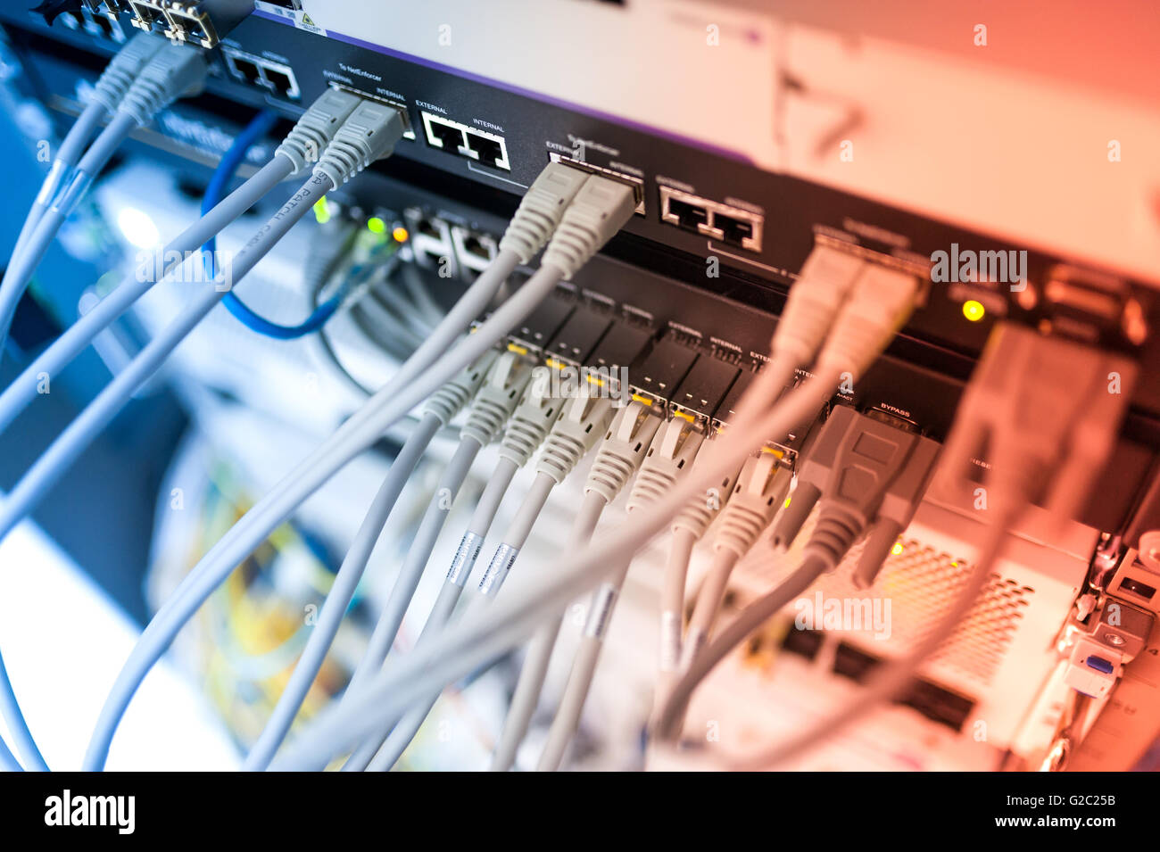 Core switch technology in network room place . - Stock Image