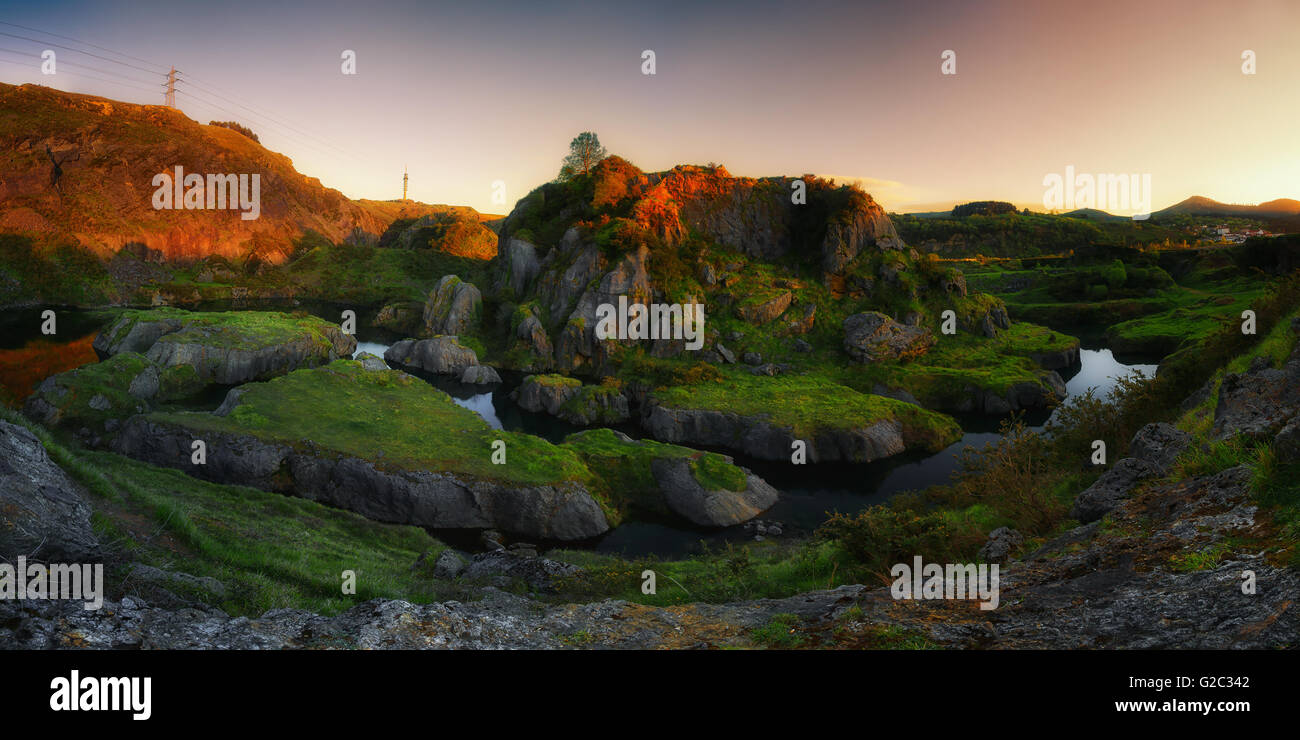 Panorama of lakes in La Arboleda at sunset Stock Photo