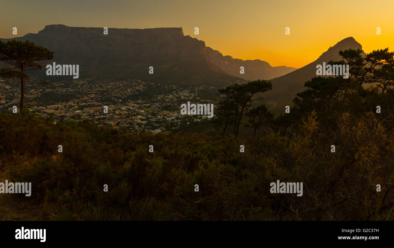 Table Mountain At Sunset - Stock Image