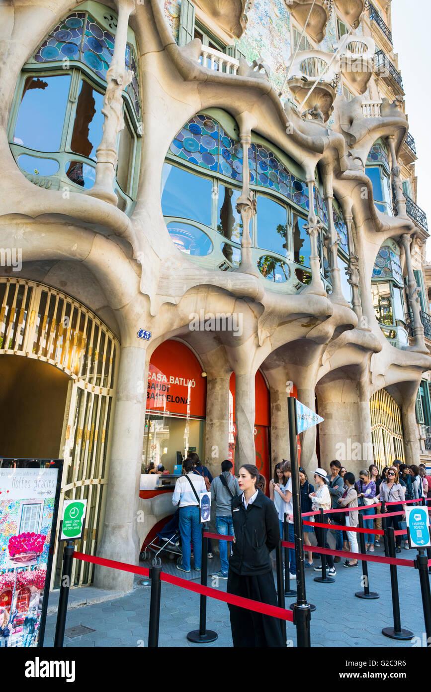 Spain Catalonia Barcelona Eixample Passeig de Gracia  Casa Batilo  Casa dels Ossus The House of Bones built 1877 - Stock Image