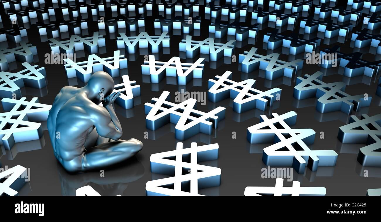 Weak Korean Won Currency or Weakening Finances and Man Crying - Stock Image