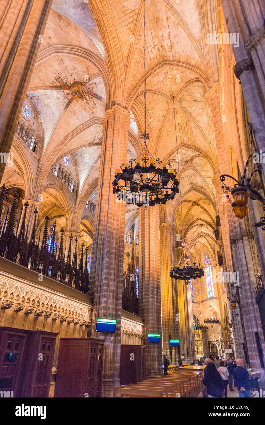 Spain Catalonia Barcelona Barri Gotic Gothic Quarter 14th century Cathedral with 28 chapels roof and columns pillars - Stock Image