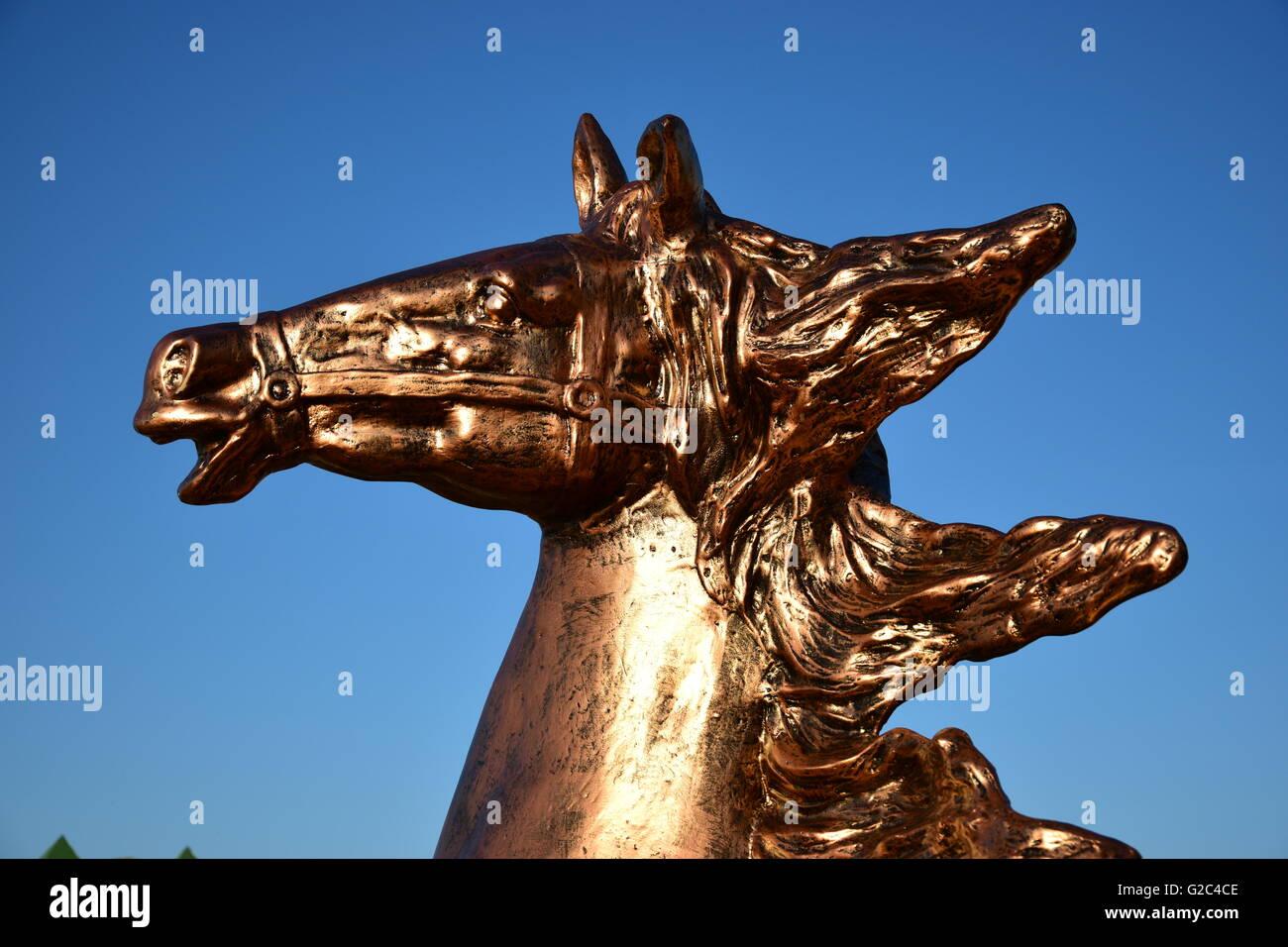 Bronze statue of horse in Astana, capital of Kazakhstan - Stock Image