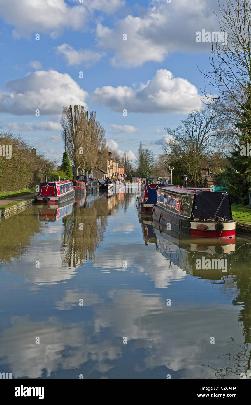 On the Grand Union Canal at Stoke Bruerne, Northamptonshire, UK - Stock Image