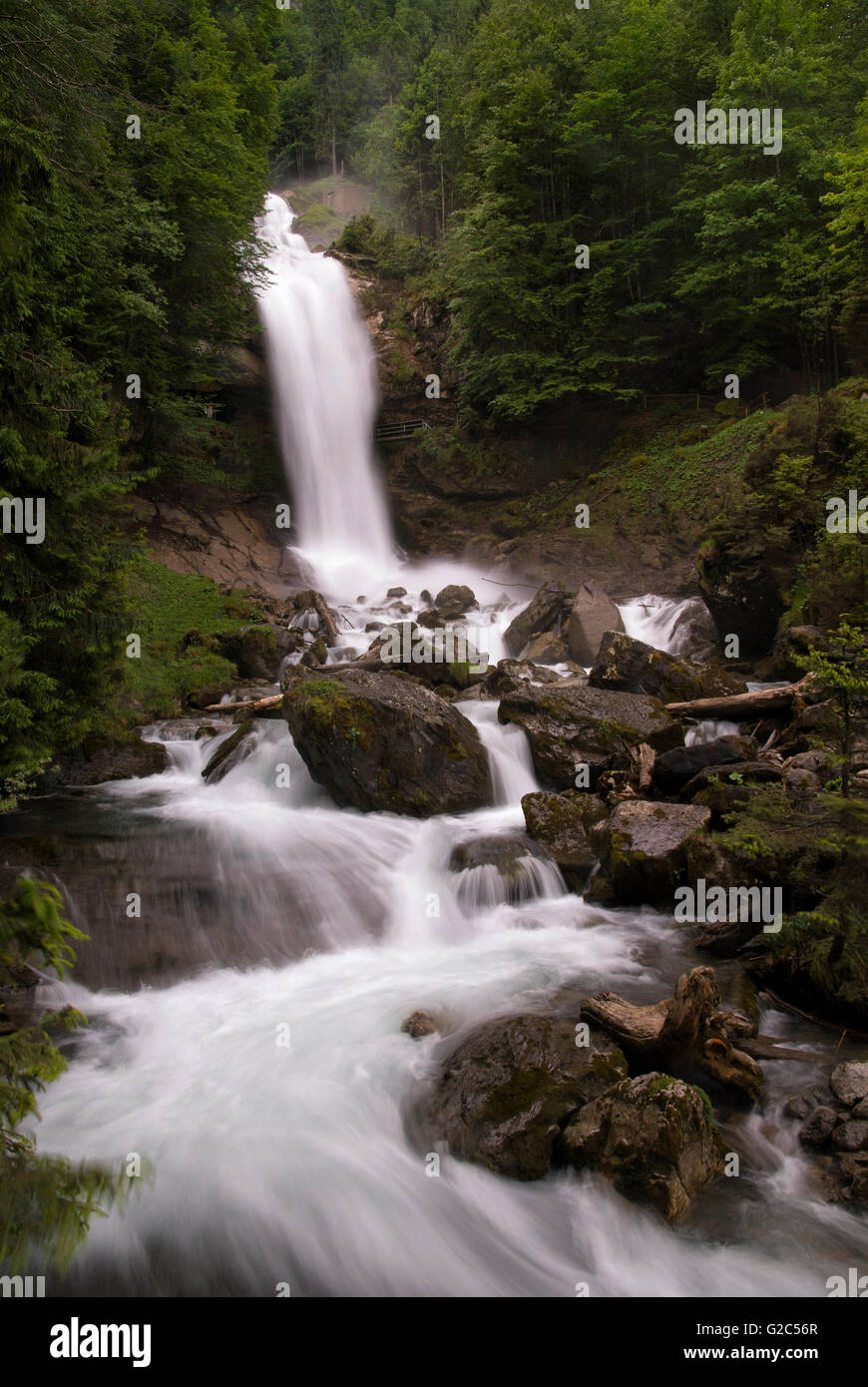The Giessbach falls near the Swiss town Brienz Stock Photo