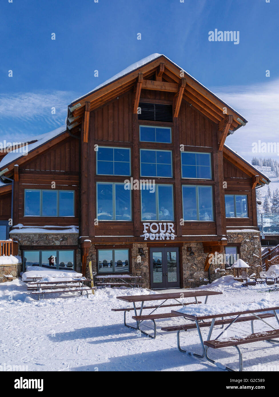 View of Four Points Lodge, Steamboat ski area, Steamboat Springs Colorado. - Stock Image