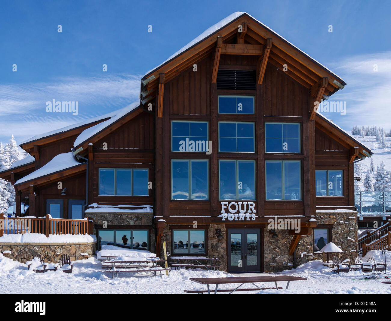 View of Four Points Lodge, Steamboat ski area, Steamboat Springs, Colorado. - Stock Image