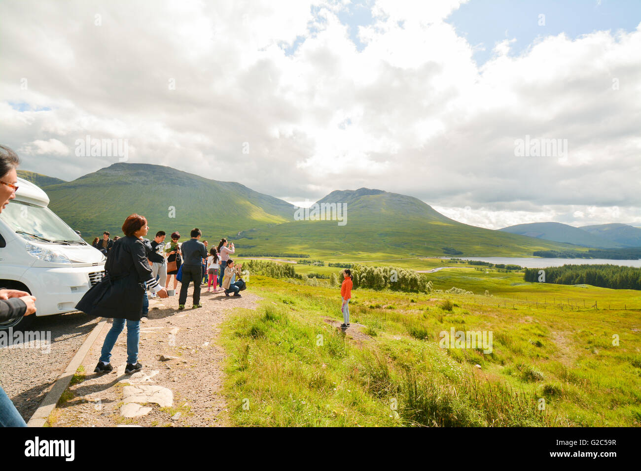 Glencoe tourists, Scottish Highlands, Scotland, UK - Stock Image
