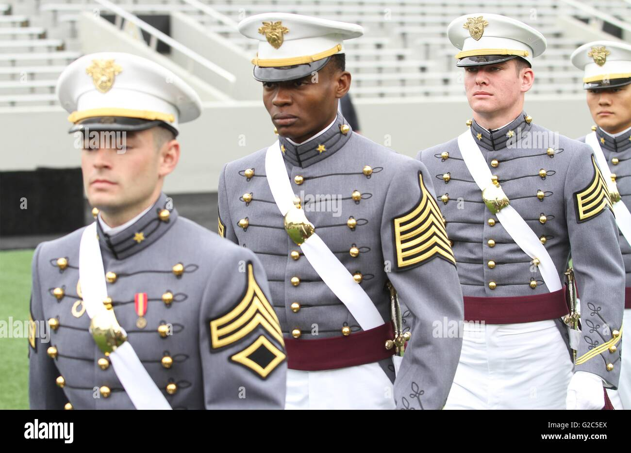 West Point Cadet Alix Idrache, center, during the 2016 commencement ceremony at the West Point Military Academy Stock Photo