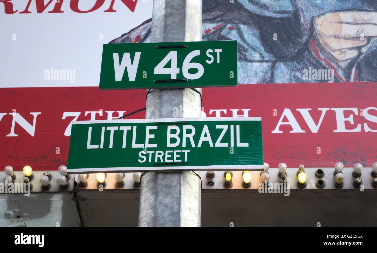 New York City street signs: West 46th Street, Little Brazil Street - Stock Image