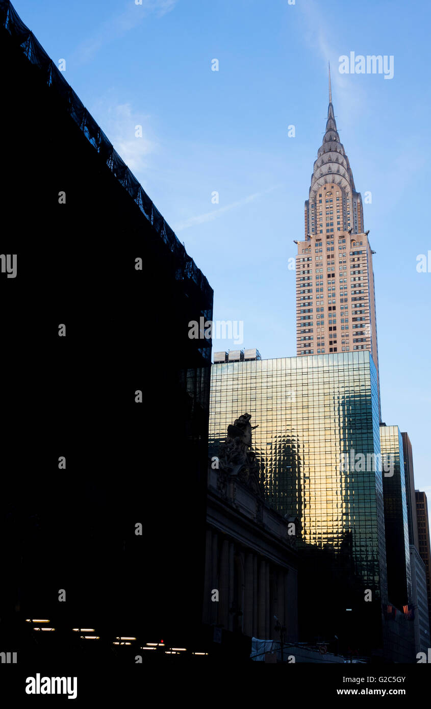 The Chrysler Building at 42nd Street and Lexington Avenue in New York City, the fifth tallest skyscraper in the - Stock Image