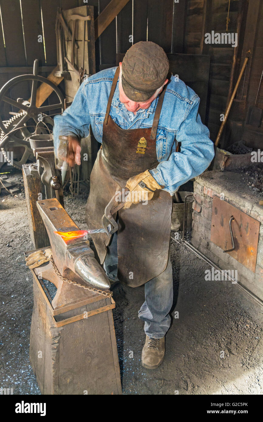 California, Coloma, Marshall Gold Discovery State Historic Park, blacksmith hammering knife blade on anvil - Stock Image