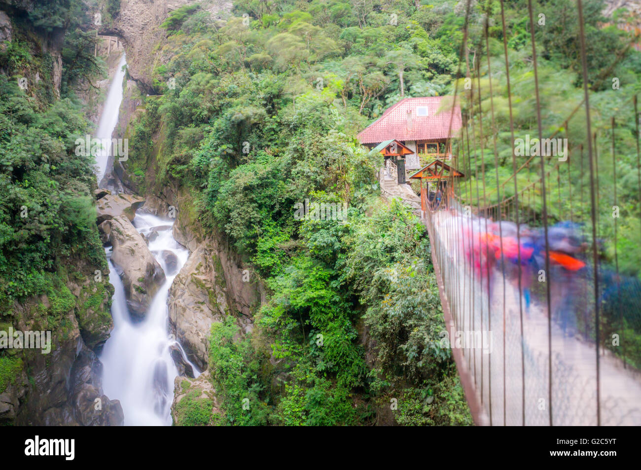 Pailon del Diablo waterfall in Banos, Ecuador - Stock Image