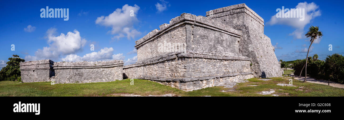 Tulum maya ruins panorama in Yucatan, Mexico - Stock Image