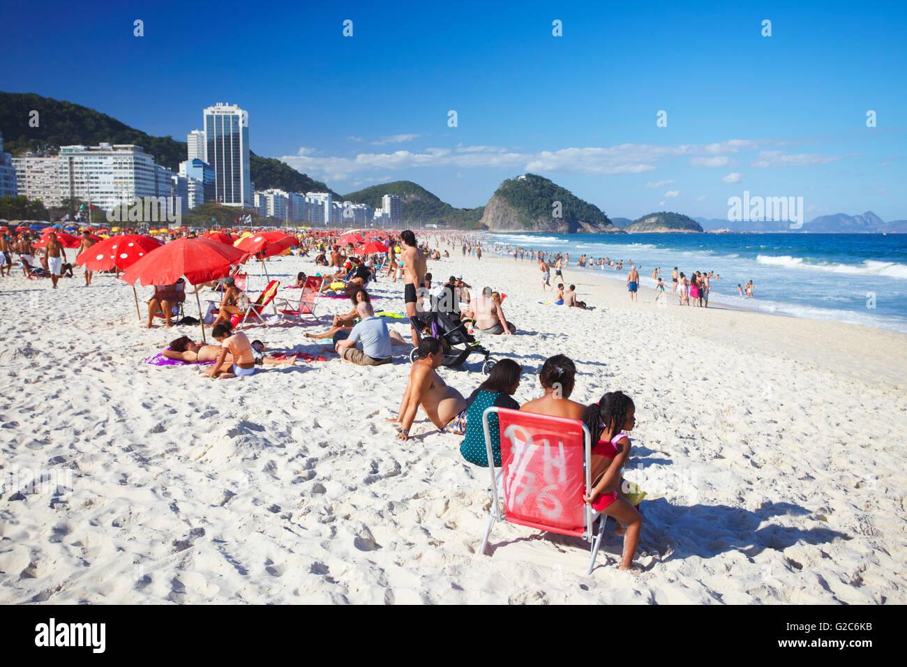Copacabana beach, Rio de Janeiro, Brazil - Stock Image