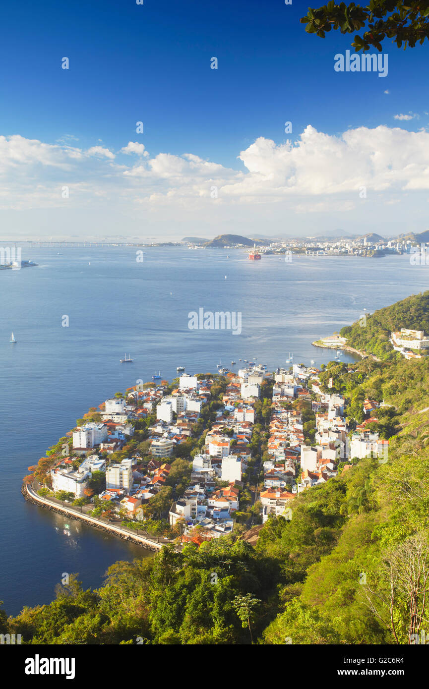 View of Urca with Niteroi in the background, Rio de Janeiro, Brazil - Stock Image