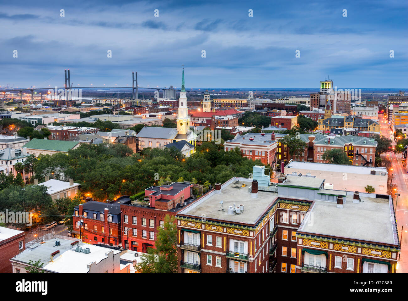 Savannah, Georgia, USA downtown skyline. - Stock Image