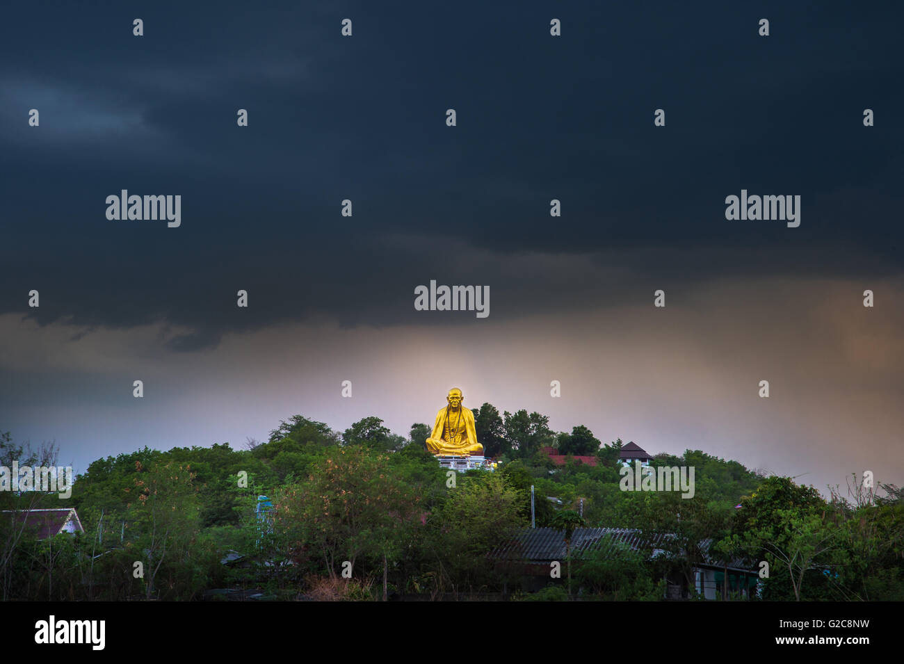 Wat Doi ti. Big Buddha built in approximately 2011 to the attraction of Lamphun,Thailand. - Stock Image