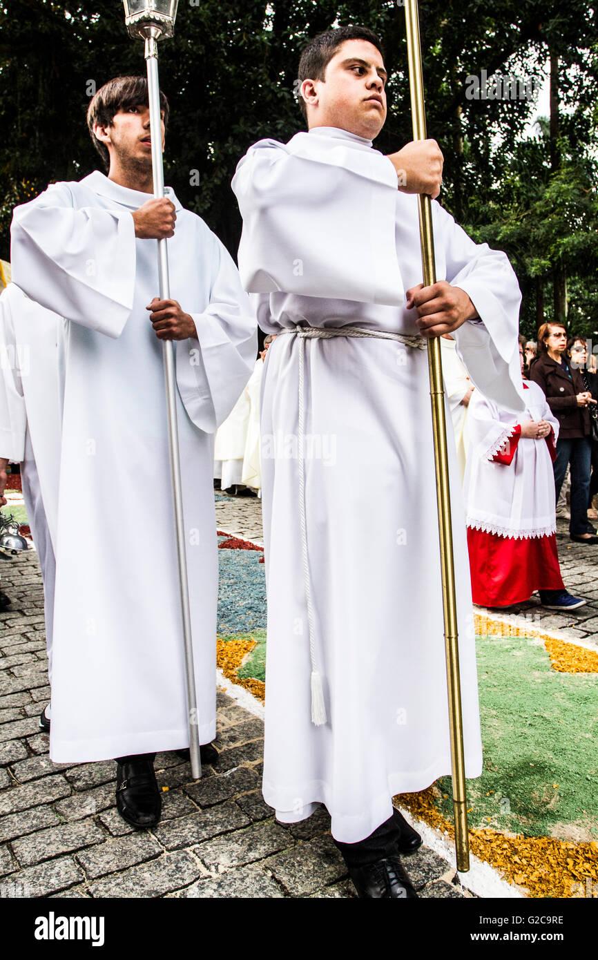 Corpus Christi Procession. Florianopolis, Santa Catarina, Brazil. - Stock Image