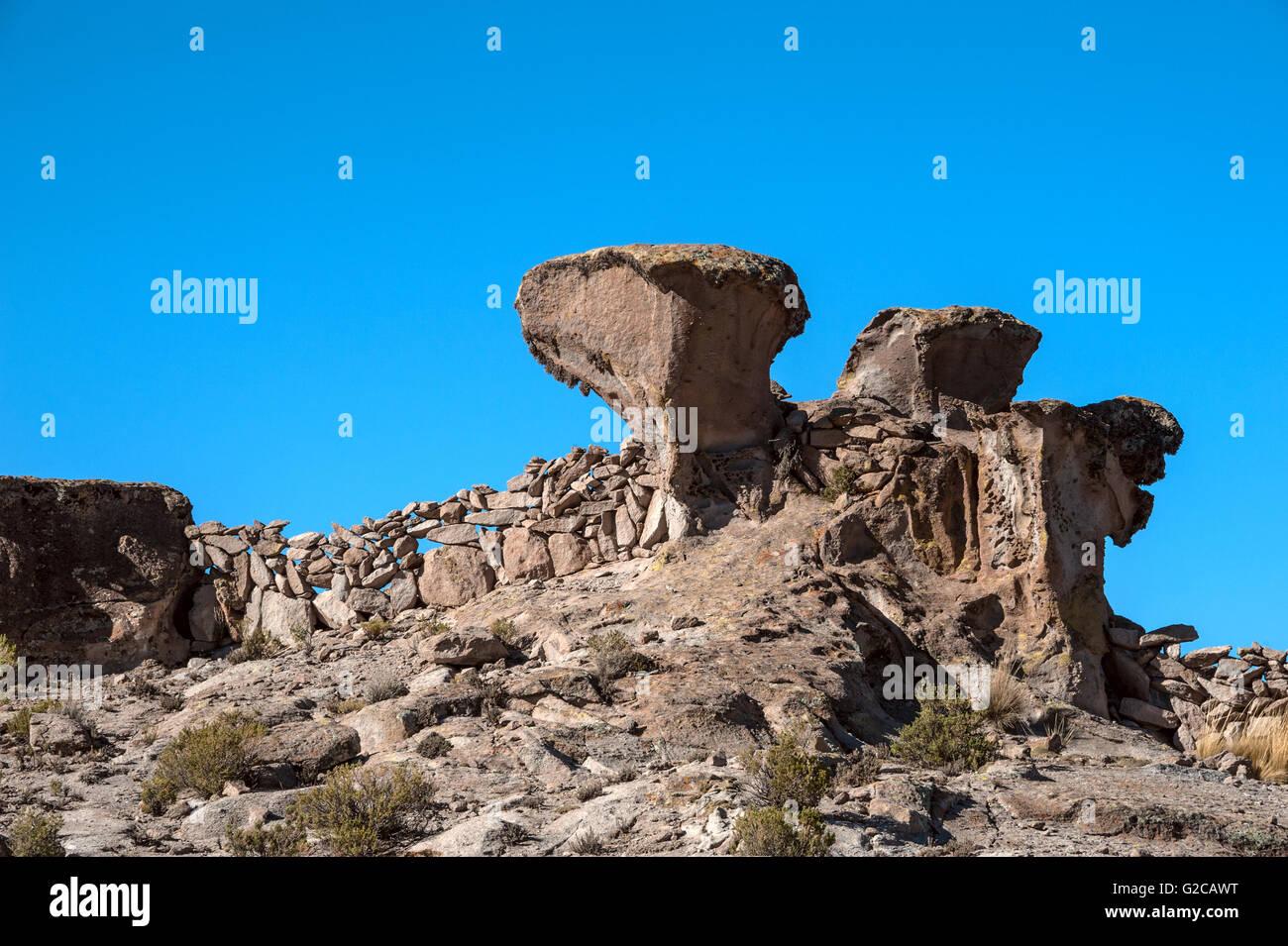Colored rocks near Tupiza, Bolivia - Stock Image