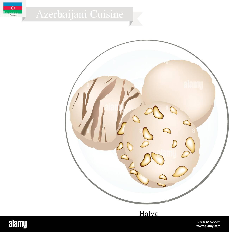 Azerbaijani Cuisine, Halva or Traditional Nut Butter and Sugar. One of The Most Popular Dessert in Azerbaijan. - Stock Vector