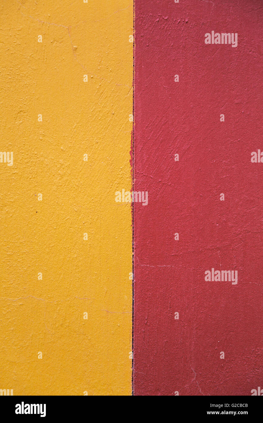 Closeup of the wall painted with two colors - Stock Image