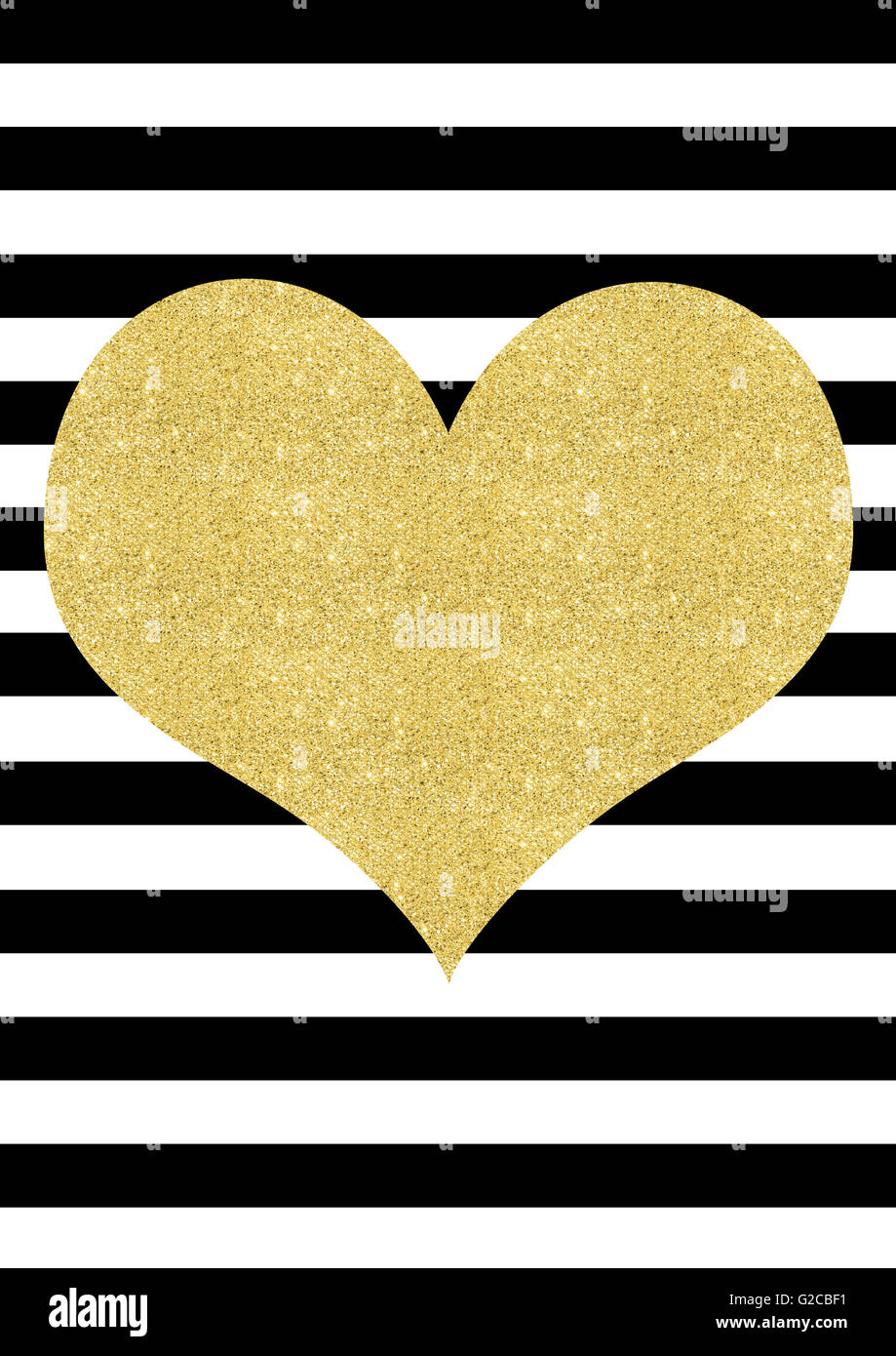 Gold Glitter Effect Heart On A Black And White Striped