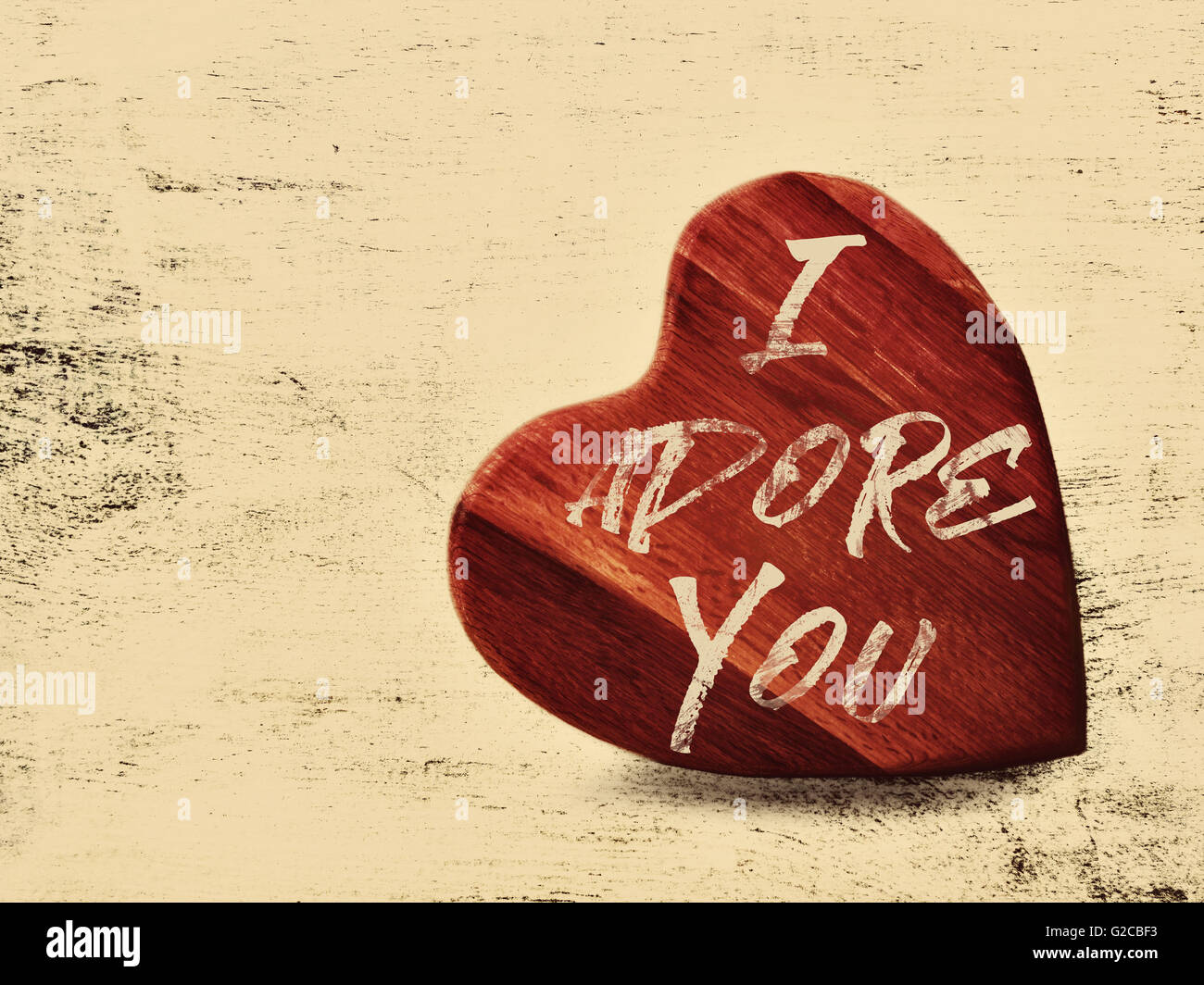 Valentine Wall Art Red Wooden Heart On A Grunge Cream Background