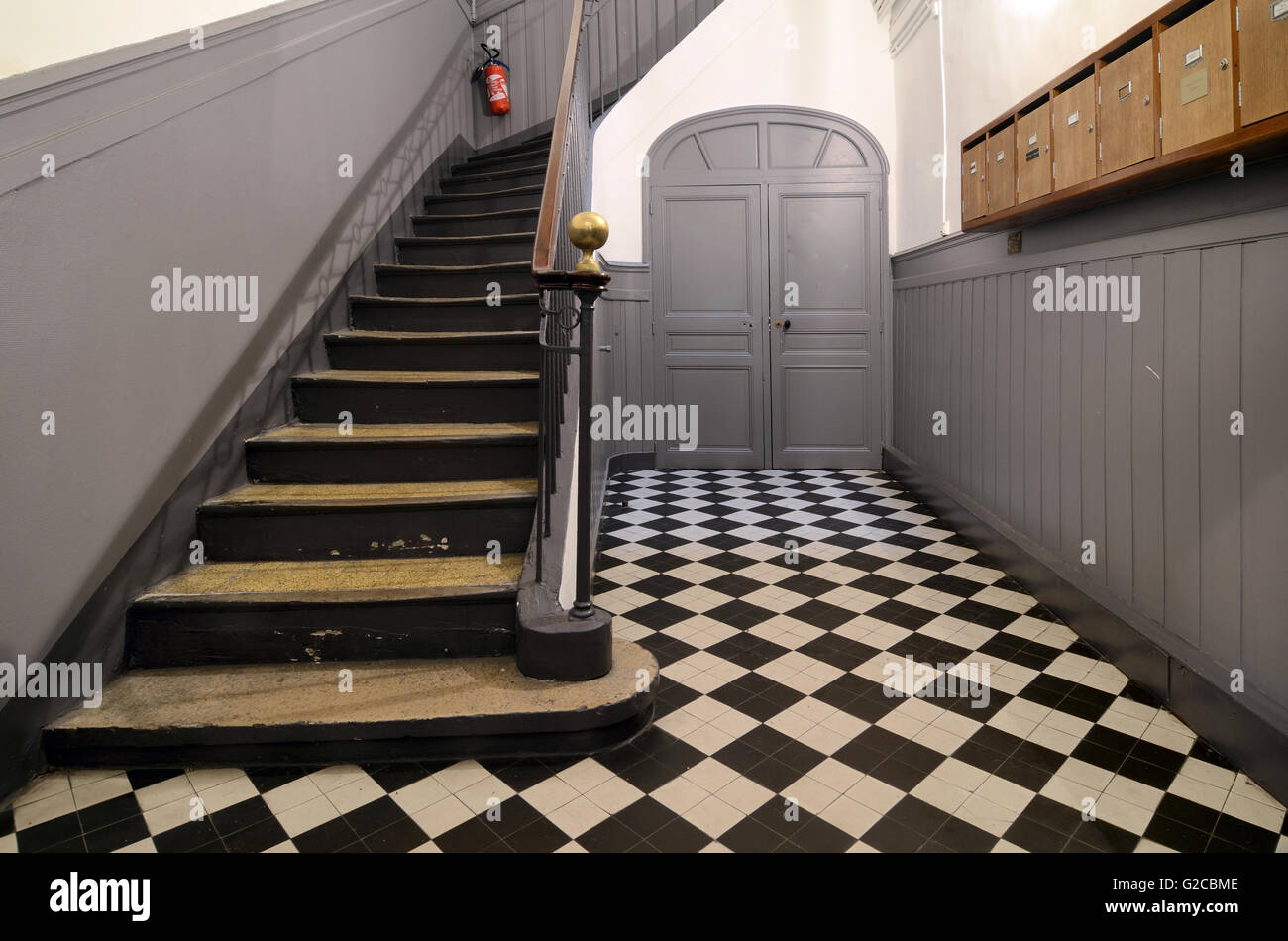Entrance Hall Stairs & Interior of Historic Townhouse Aix-en-Provence Provence France - Stock Image