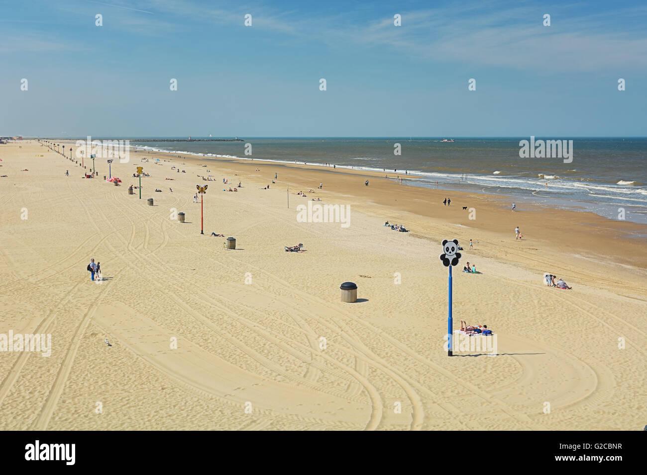 Children landmarks on the beach in Scheveningen, Netherlands. - Stock Image