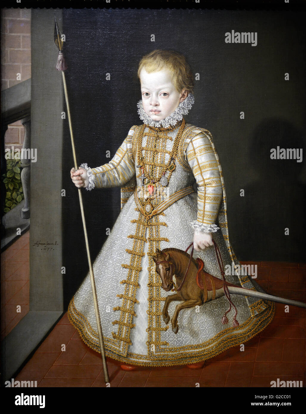 Oil Painting of Infant Diego Son of King Philip 11 of Spain (1577) by Coello. Prince in Regal Dress Holding Toy Stock Photo