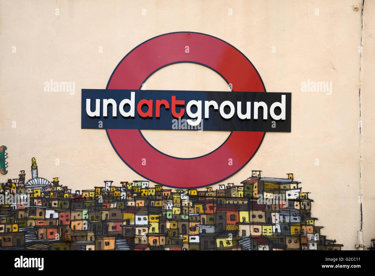 Undartground Art Wall Painting based on London Underground Sign or Motif Panier Marseille or Marseilles France - Stock Image
